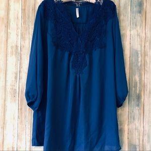 Royal Blue Light Tunic With Crochet trim